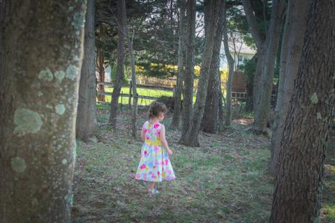 Photograph of my daughter and her pretty Easter dress.
